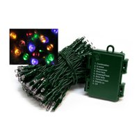 Set of 2 Multi-Color LED Wide Angle Christmas Lights - 22ft Green Wire