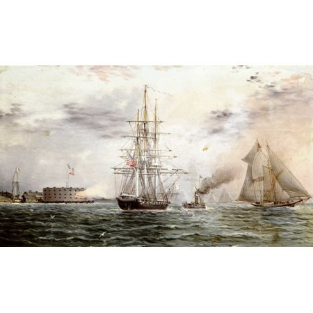 New York Bay - Castle Clinton Stretched Canvas - James E Buttersworth (12 x 18) (James Buttersworth Ships)