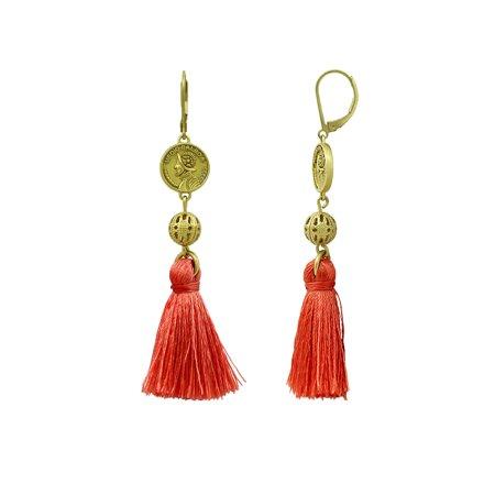 Nicole Miller Oxidized Gold Plated Brass PANAMA COIN SHORT TASSEL DROP Earrings