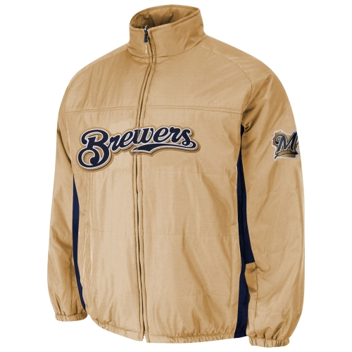 Milwaukee Brewers Majestic Double On-Field Jacket - Gold