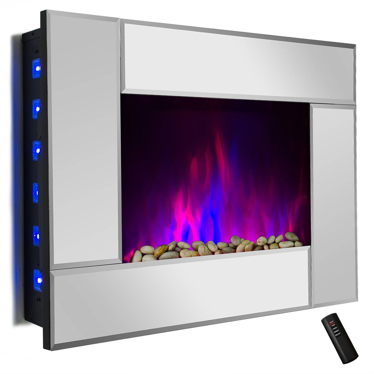 "AKDY FP0050 36"" 1500W Wall Mount Electric Fireplace Heater with Tempered Glass, Pebbles, Logs and Remote Control, Mirror"