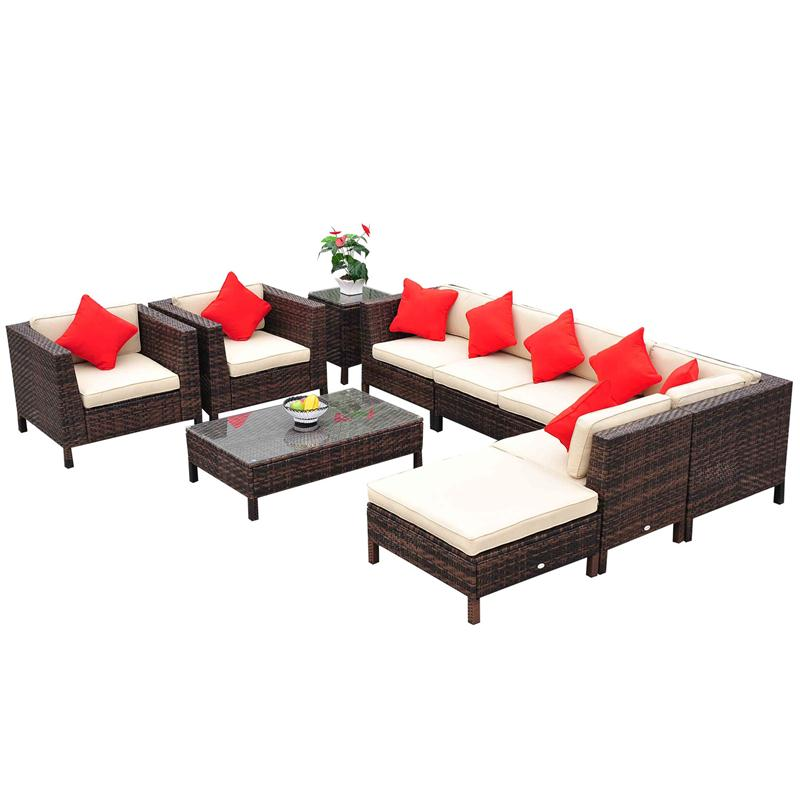Outsunny 9pc Outdoor PE Rattan Wicker Sectional Patio Sofa Chair Set
