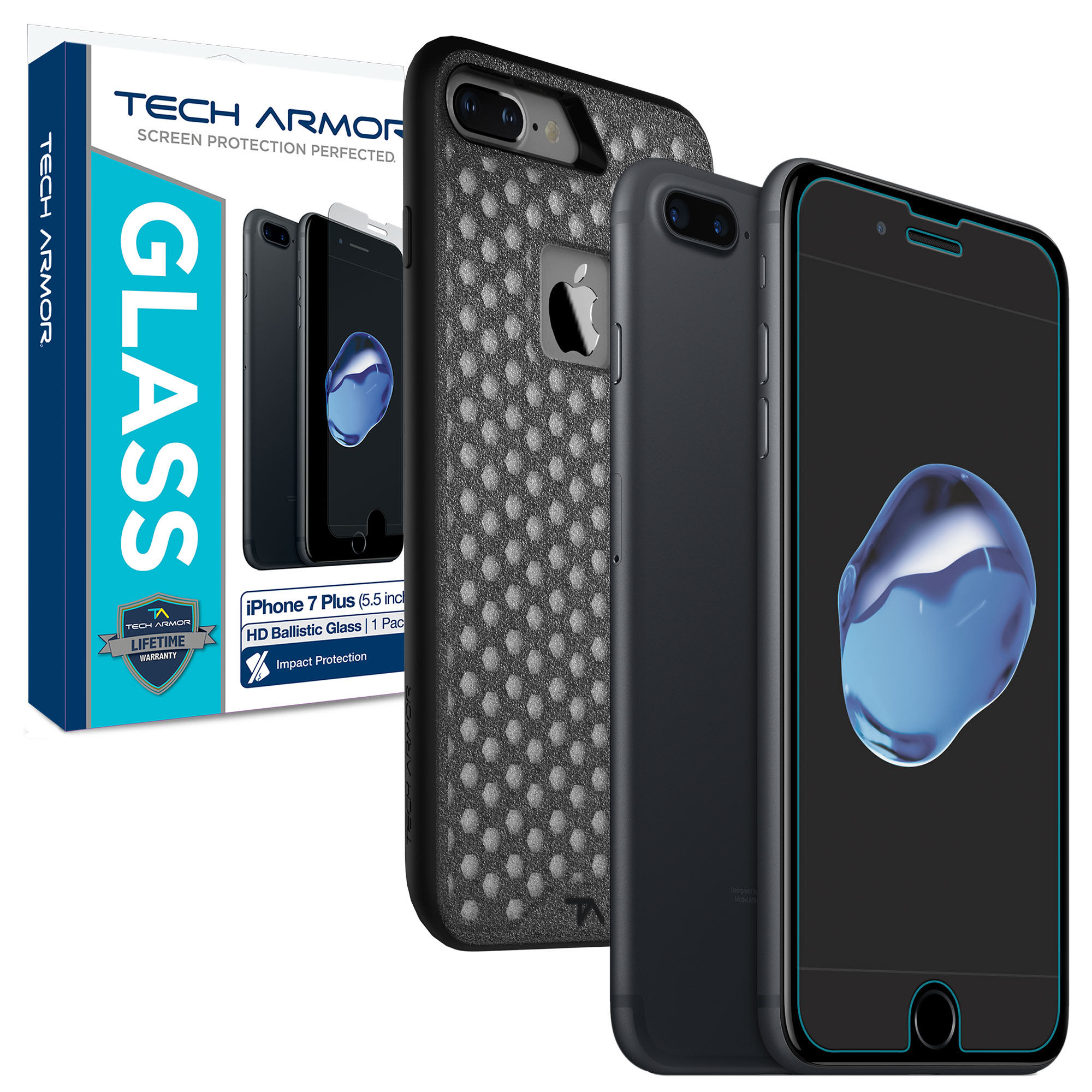 "Tech Armor Apple iPhone 7 Plus (5.5"") Protection Bundle - Glass Screen Protector / Shock Flex Case (Black)"
