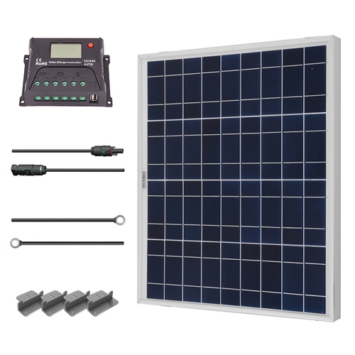Renogy 50W 12V Solar Panel Polycrystalline Off Grid Starter Kit with 10A PWM Charger Controller