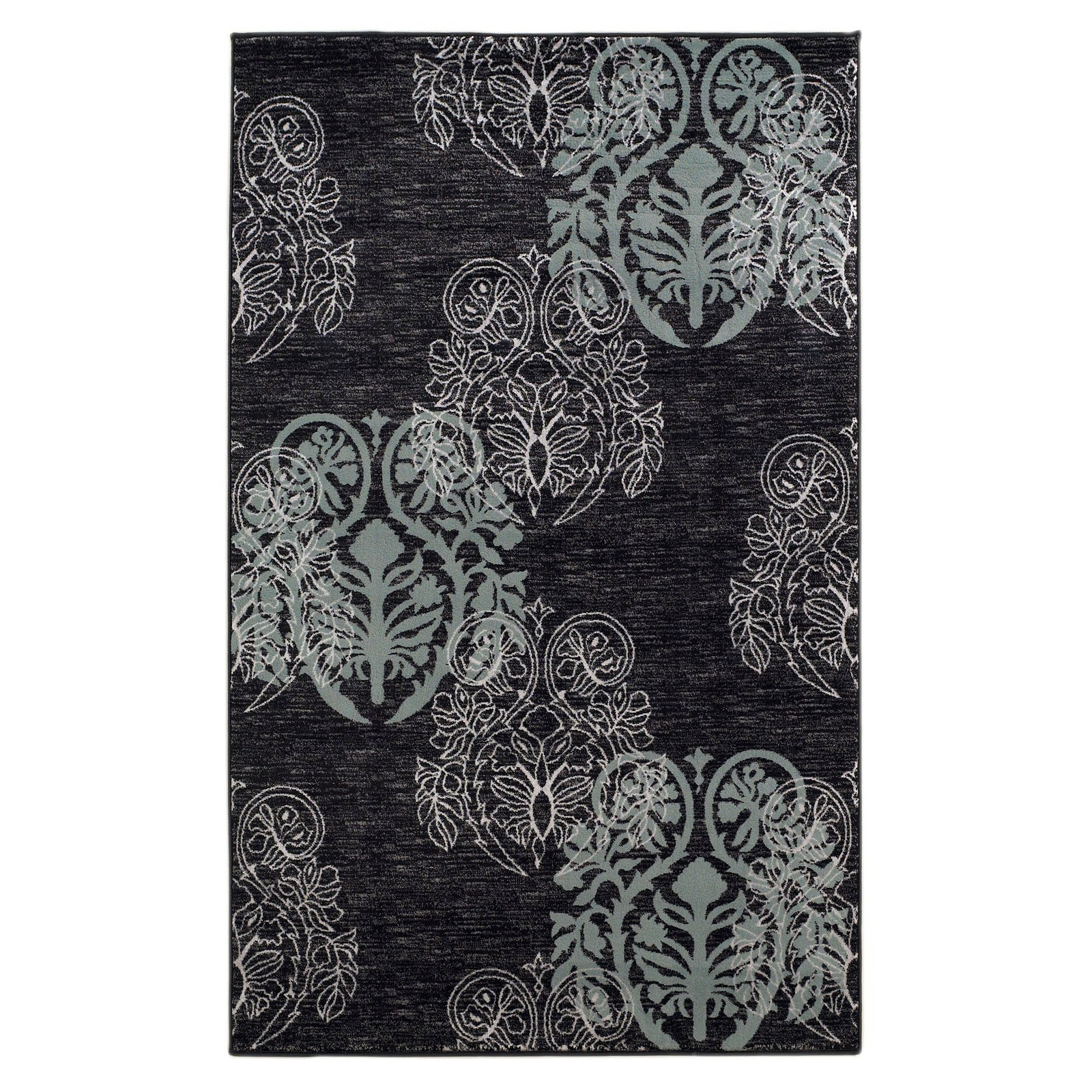 Milan Power Loomed Rug, Black/Turquoise