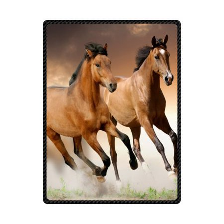 CADecor Running Horse Fleece Blanket Throw Blanket 58x80 (Running Horses Throw)