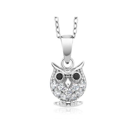"925 Sterling Silver Owl Pendant With 18"" Chain Made With Swarovski Zirconia"