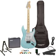 Sawtooth ES Series ST Style Electric Guitar Kit with Sawtooth 10 Watt Amp, Gig Bag Soft Case, Stand, Clip-on Tuner, Picks, Strap & Cable - Daphne Blue with Pearloid White Pickguard