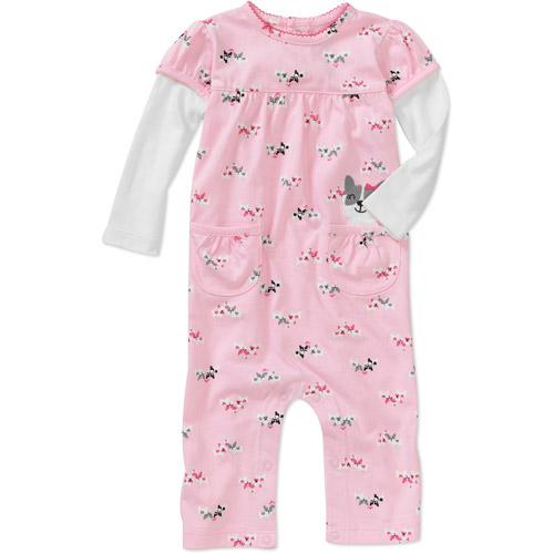 Child of Mine Carters Newborn Girls' Kitty Print Jumpsuit