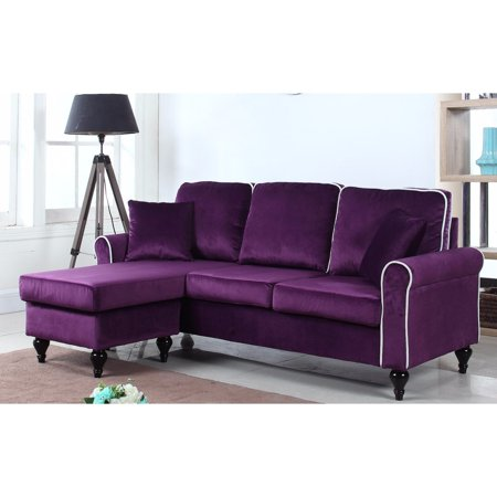 Classic and traditional small space velvet sectional sofa with reversible chaise purple - Small couch with chaise ...