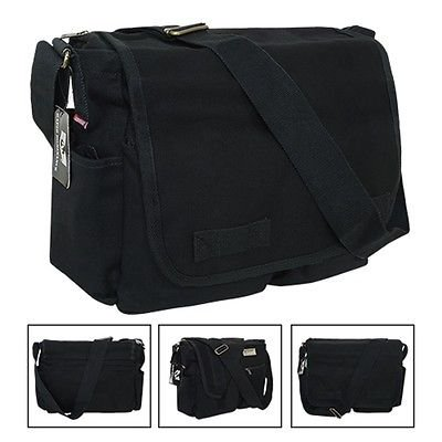 Black Army Military Messenger Heavyweight Field Canvas Shoulder Laptop Bag Bags ()