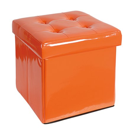 A&B Home Folding Orange Storage Ottoman