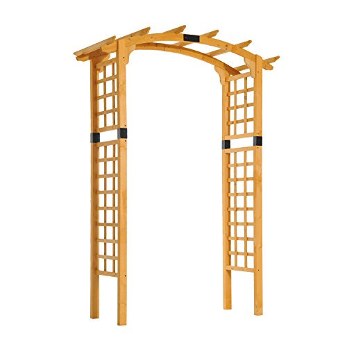 Outsunny 90 Wooden Garden Arbor Arch Trellis (Rounded)