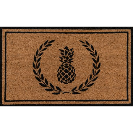 Erin Gates by Momeni Park Pineapple Black Hand Woven Natural Coir Doormat 1'6