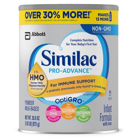 Similac Pro-Advance Infant Formula with Iron, with 2'-FL HMO, For Immune Support, Baby Formula, Powder, 30.8 ounces (Pack of 4) -  Abbott Laboratories,ABBN7, 0007007466439