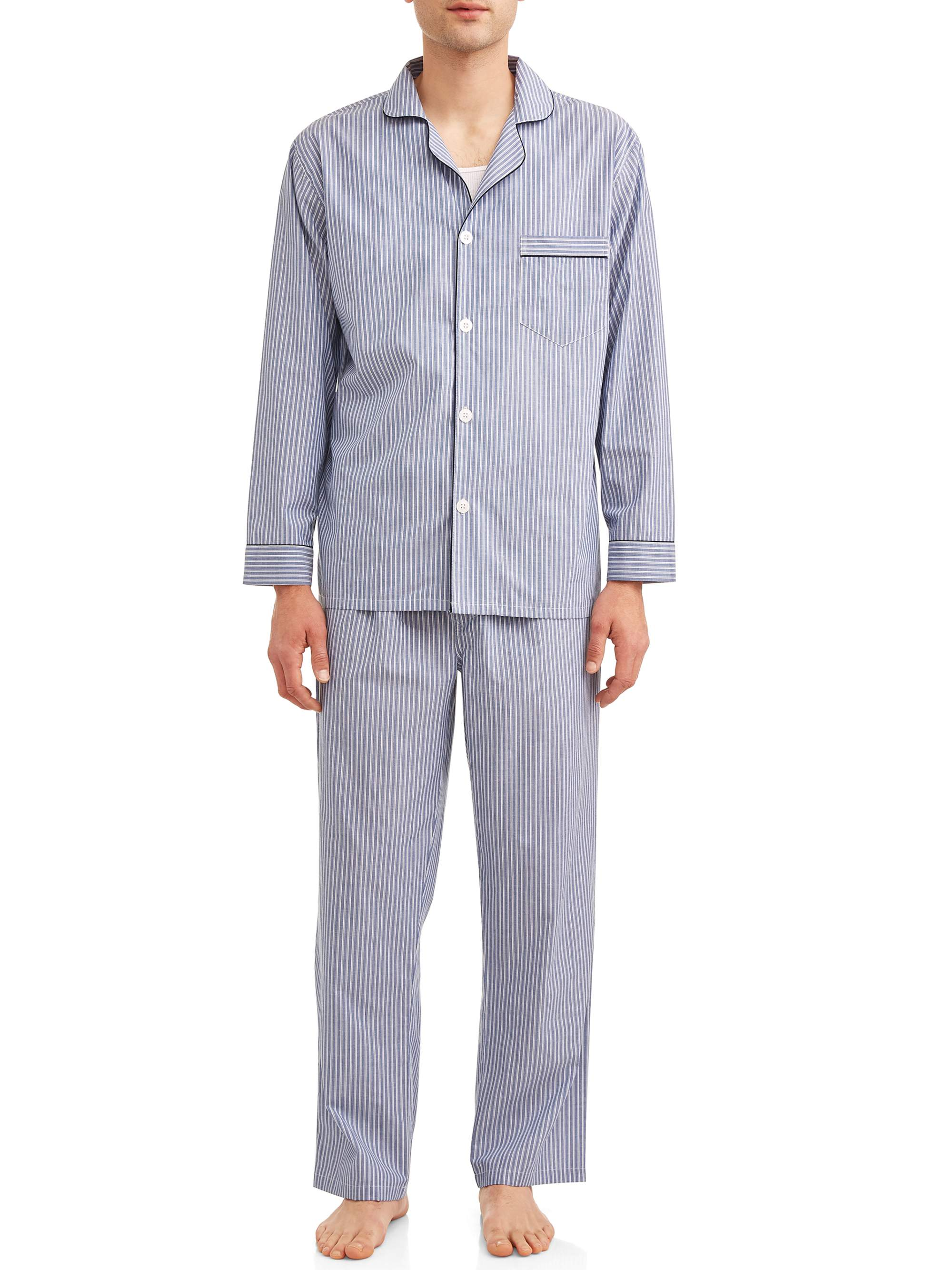 Hanes Mens 2-Piece Blue Striped Woven Sleepwear Pajama Set Sleep Set