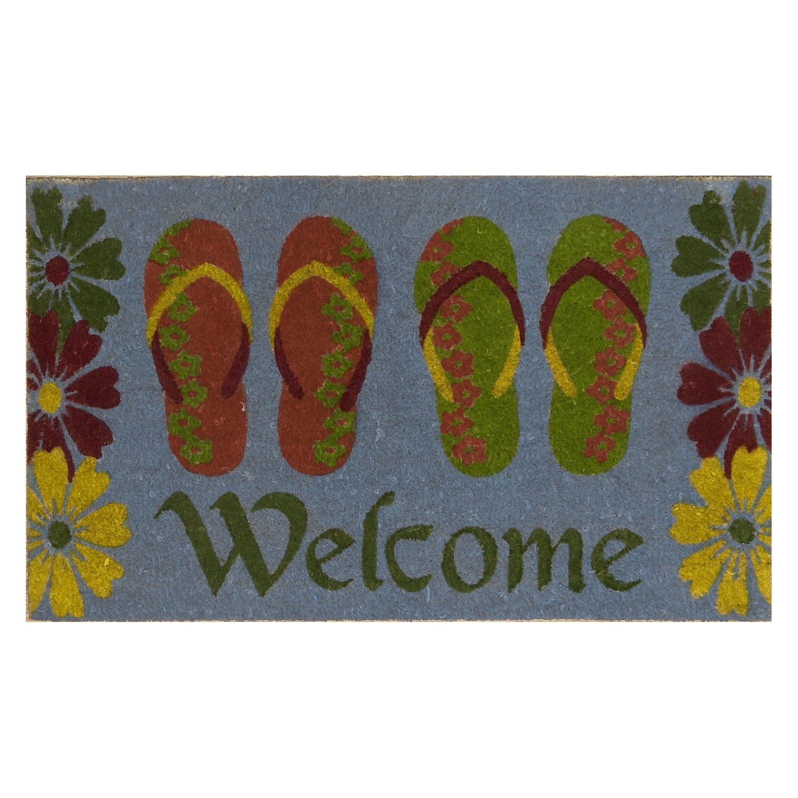 FlipFlop Welcome Coir Mat with Vinyl Backing 18 x 30