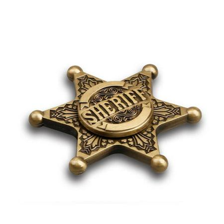 Deago Retro Sheriff Badge Shape Metal Hand Spinner Finger bearing Gold Gyro Anti-Stress Fidget Kids Gift Toy