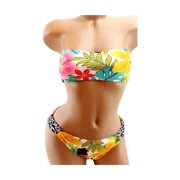 SO Junior Swimwear Two-Pieces Halter Strapless Floral Large Bikini Set New