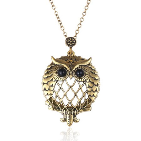 Owl Vintage Magnifying Glass Necklace Anti-Tarnish Pendant Antique Gold Owl Jewelry, J-438
