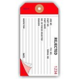 "REJECTED, Numbered, Carbon, 4.75"" x 2.375"", white in pink and red paper, 3-ply, pack of 100"