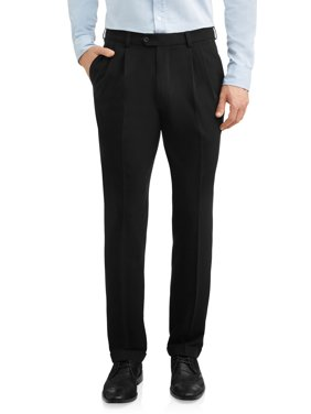 George Men's Premium Comfort Stretch Pleated Cuffed Suit Pant