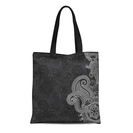 ASHLEIGH Canvas Bag Resuable Tote Grocery Shopping Bags Modern Black and White Floral Pattern Swirl Abstract Filigree Vintage Abstract Tote Bag](Black And White Swirl)