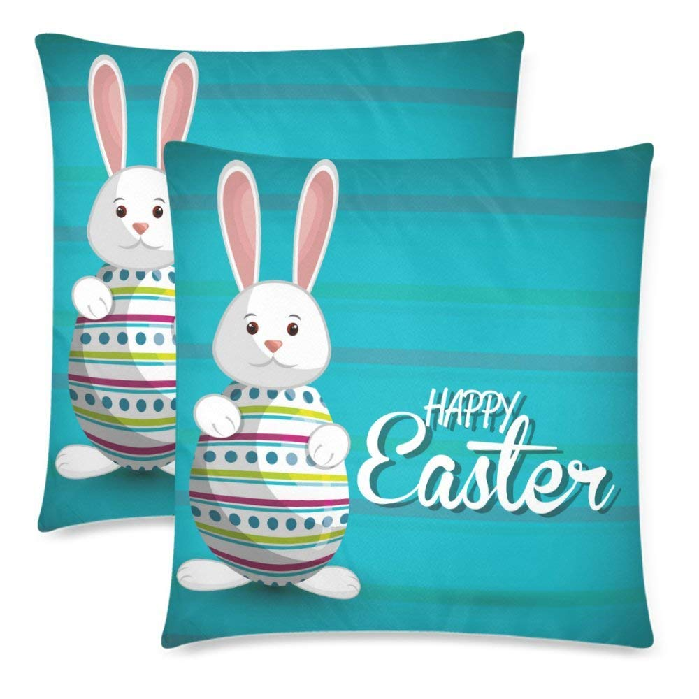 Raz 18 Colorful Bunny Easter Pillow: BPBOP Egg Rabbit Pillow Case Cover 18x18 Inches, Happy