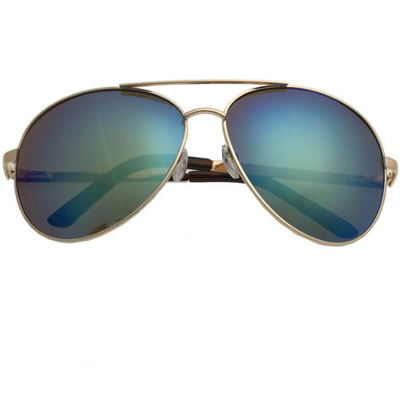 XL Extra Large Gold Frame Aviator Sunglasses Big Head Oversized Wide 62mm Mirror Men, Green (Big Aviator Brille)