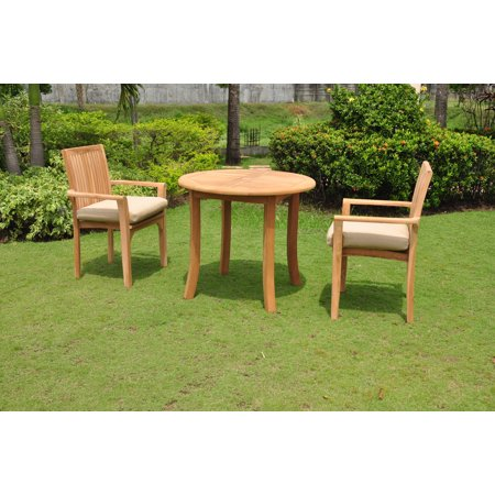 Teak Dining Set 2 Seater 3 Pc 36 Round Table And Lua Stacking Arm Chairs Outdoor Patio Grade A Wood Wholeteak Wmdslu1