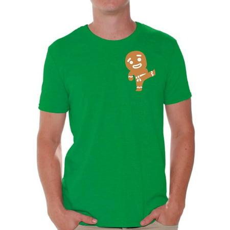 Awkward Styles Gingerbread Ninja Pocket Tshirt for Christmas Men's Ugly Christmas T Shirt Gingerbread Xmas Ugly Shirt Funny Christmas Gifts for Him Christmas Pocket Shirts Holiday Tshirt for Men