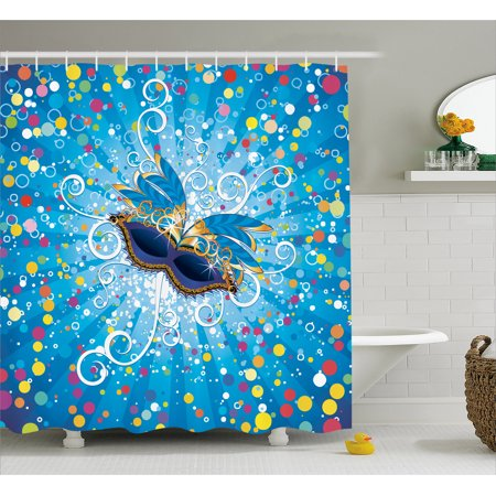 Mardi Gras Shower Curtain Blue Backdrop With Colorful Dots Spots And Carnival Mask Stylized