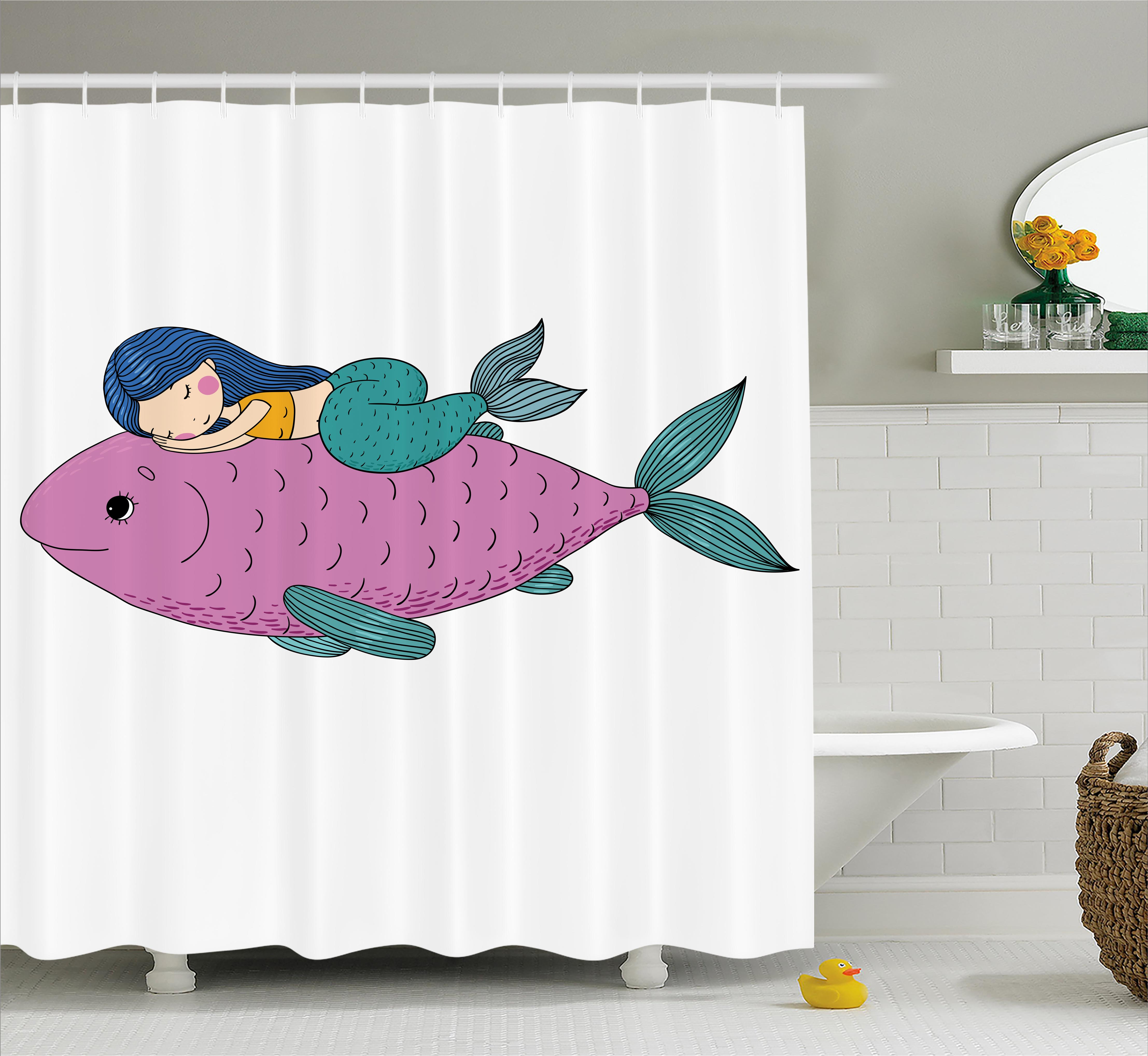 Mermaid Shower Curtain, Baby Mermaid Sleeping on Top Giant Fish Happy Best Friends Kids Nursery Theme, Fabric Bathroom Set with Hooks, 69W X 70L Inches, Purple Teal, by Ambesonne