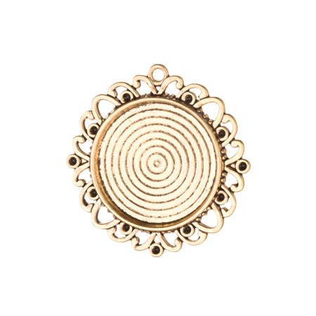 Finished Bezel (2pcs Round Frame Pendant Trays - Antique Gold Finished - Cabochon Setting Photo Pendant Cameo)