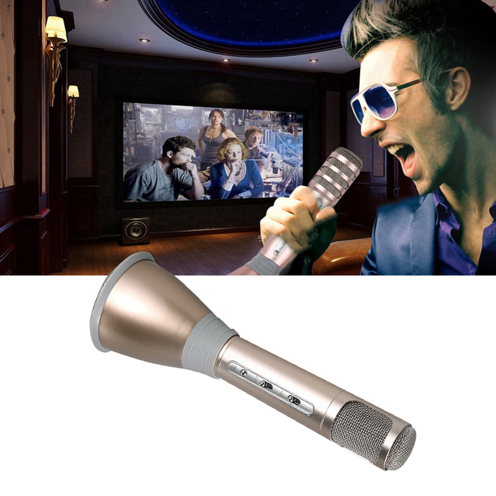 New Professional K068 Wireless Bluetooth Metal HandHeld Microphone Karaoke Gifts Gold