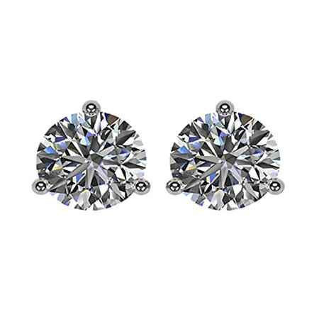 Cubic Zirconia Three Prong (1.50TW Swarovski Zirconia 3 Prong Martini CZ Earrings 14kt Platinum Plated Posts Sterling Silver)