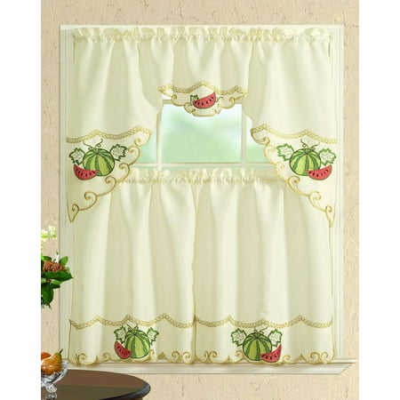 All American Collection New 3pc Embroidered Kitchen Curtain Set Various