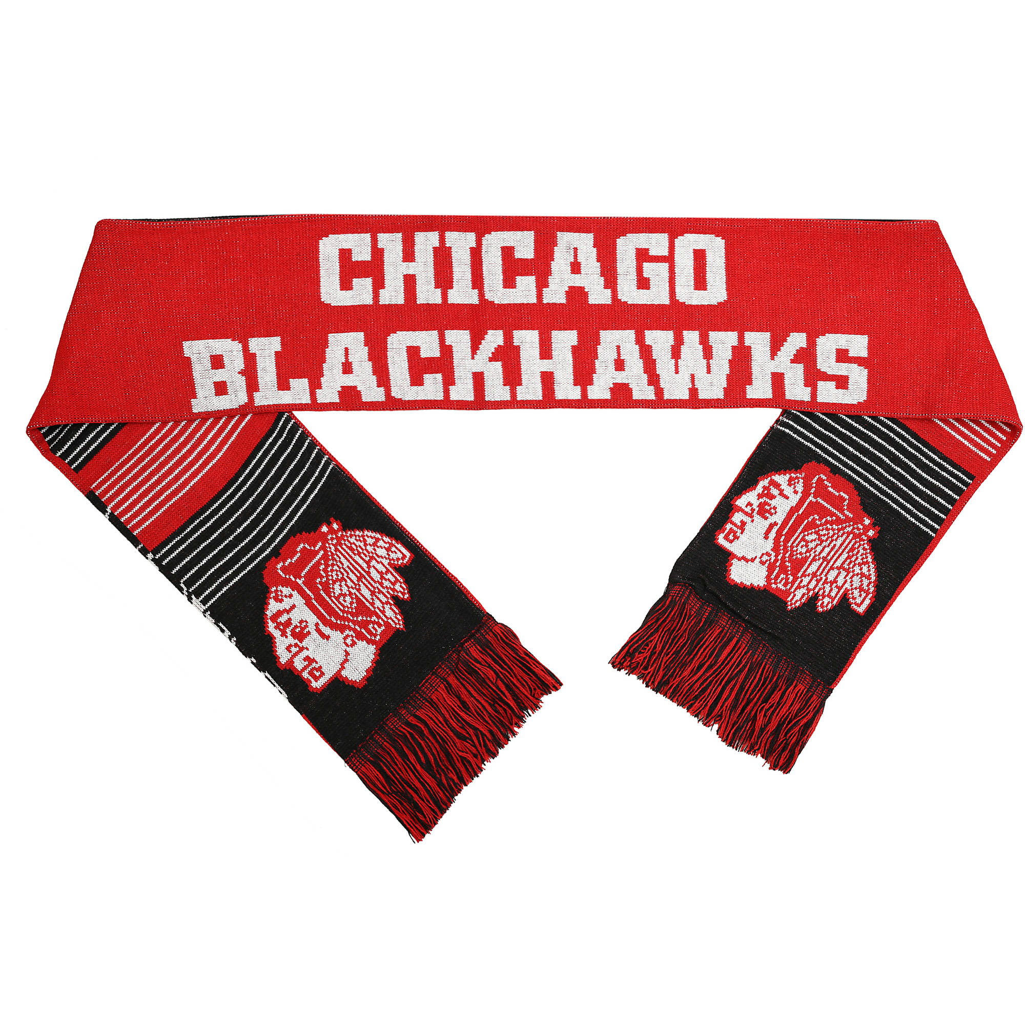 NHL Forever Collectibles Reversible Split Logo Scarf, Chicago Blackhawks