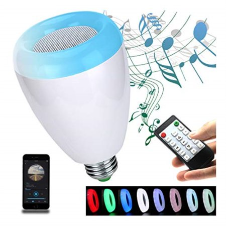 LED Light Bulb,Wireless Bluetooth Dimmable Lamp Bulb Speaker, E27 Base RGB Multicolor Changing LED Music Smart Bulb Light for iPhone, iPad and Android Phone.(White) ()