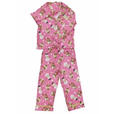 Monkey Pink Girls Pajamas - Girls Pink Monkey & Snowman Pajamas Christmas Holiday Flannel Sleep Set