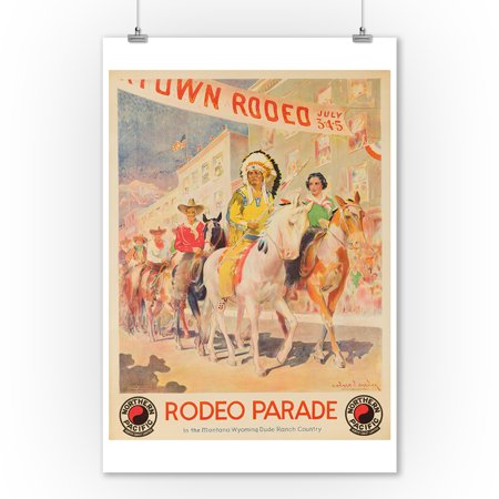 Northern Pacific - Rodeo Parade Vintage Poster (artist: Brewer) USA c. 1930 (9x12 Art Print, Wall Decor Travel -