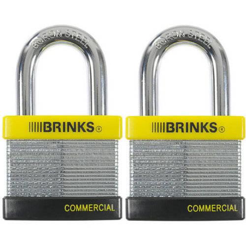 Brink's 50mm Laminated Steel Padlock Commercial Grade 2-Pack