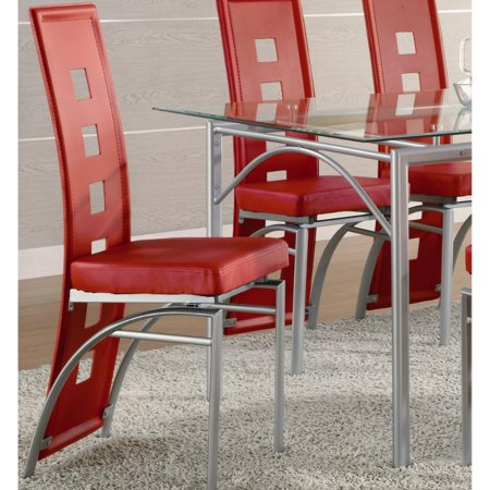 Modern High Back Dining Chair, Silver & Red, Set of 2 ()