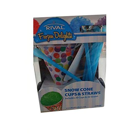 Rival Snow Cone Cups & Straws Set, 20 (Dry Wax Cone Cup)