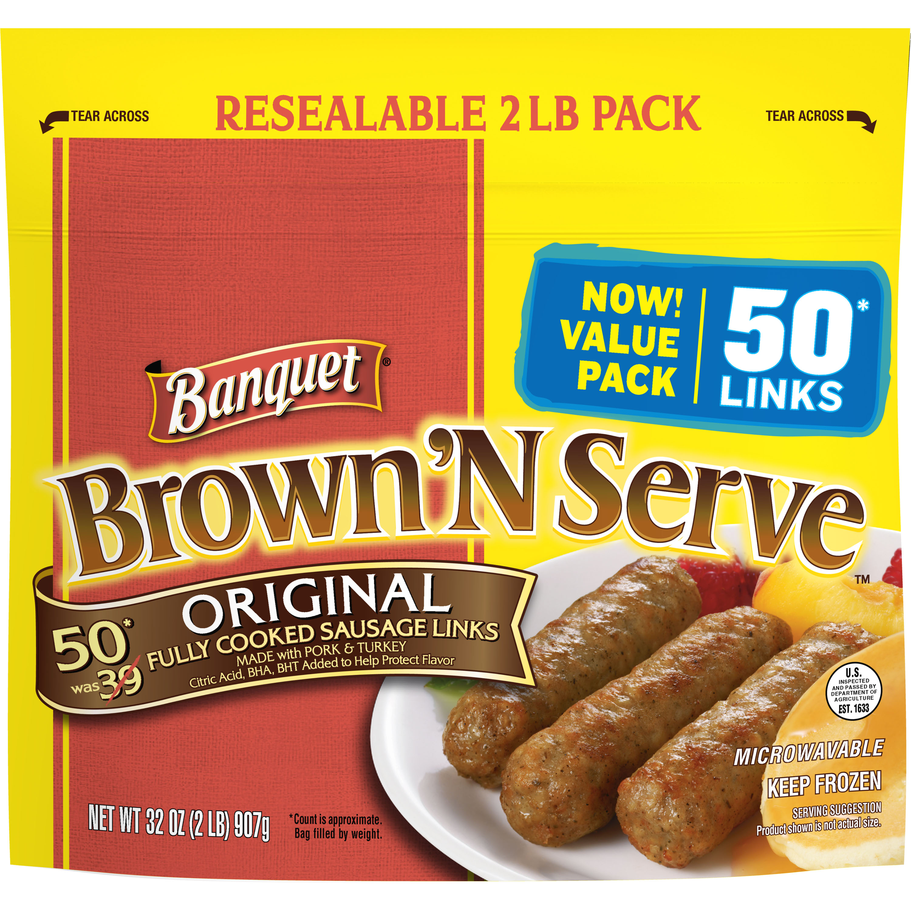 Banquet Brown 'N Serve Original Fully Cooked Sausage Links, 50 count