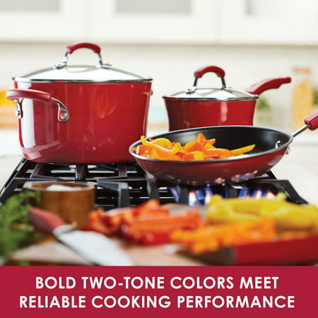 Rachael Ray 14-Piece Classic Brights Nonstick Pots and Pans Set/Cookware Set with Bakeware and Utensils, Gradient Red