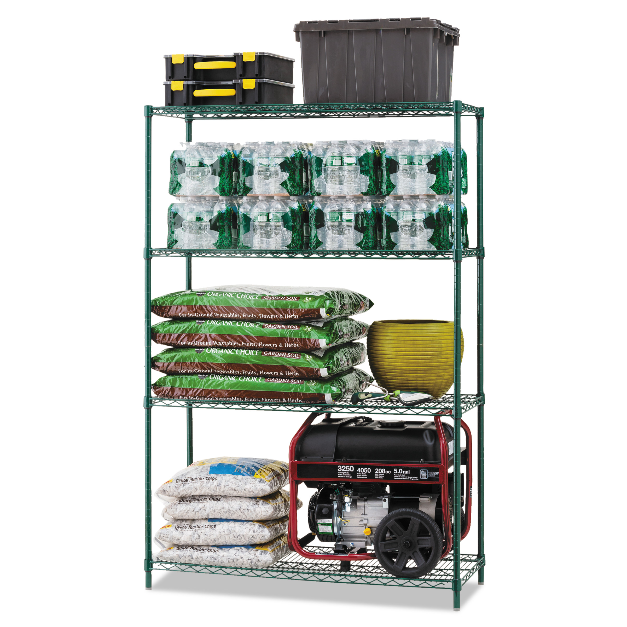 Alera All-Purpose Wire Shelving Starter Kit, Four-Shelf, 48w x 18d x 72h, Green