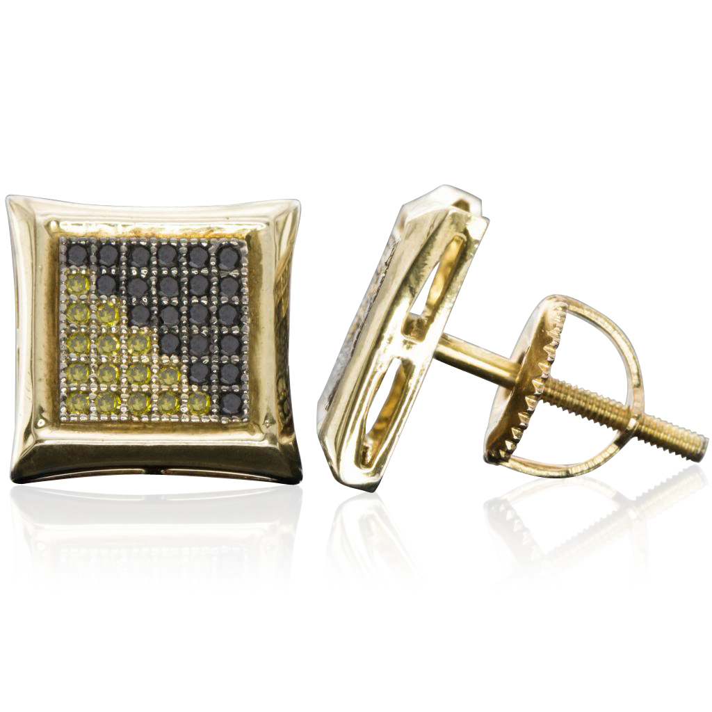 Sterling Silver 10MM Black and Yellow Kite Micro Pave Diamond Stud Earrings (0.28 cttw, H-I color, I1-I2 Clarity)