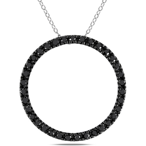 "1 Carat T.W. Black Diamond Fashion Pendant in Black Rhodium-Plated Sterling Silver, 18"" (1.8mm)"
