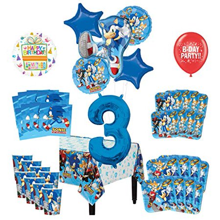 Mayflower Products Sonic The Hedgehog 3rd Birthday Party Supplies 8 Guest Decoration Kit and Balloon Bouquet